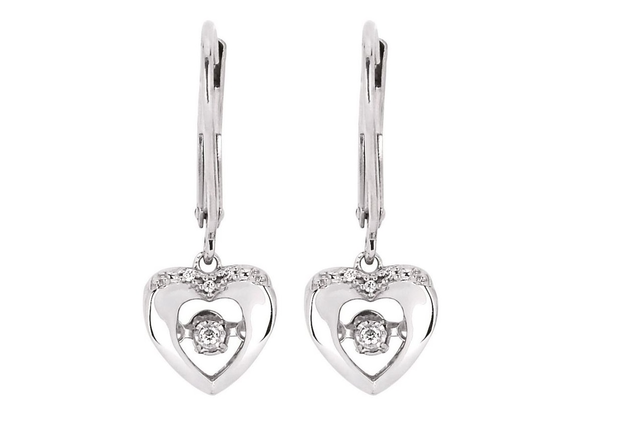 Shimmering Diamond Heart Shaped Earrings 001 150 01215 Drop From Stambaugh Jewelers Defiance Oh