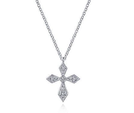 14k White Gold Pointed Diamond Cross Necklace by Gabriel & Co