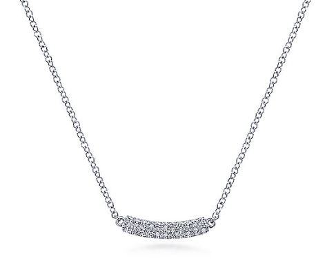 14k White Gold Diamond Curved Bar Necklace by Gabriel & Co