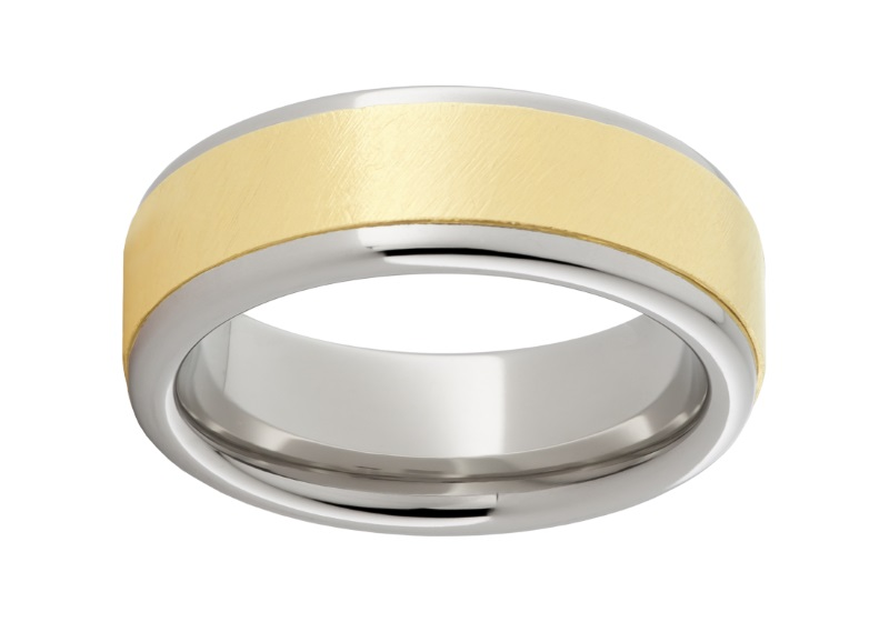 Serinium™ and gold wedding band by Jewelry Innovations