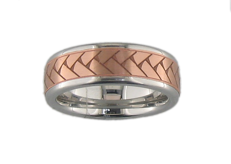 Serinium™ and rose gold wedding band by Jewelry Innovations
